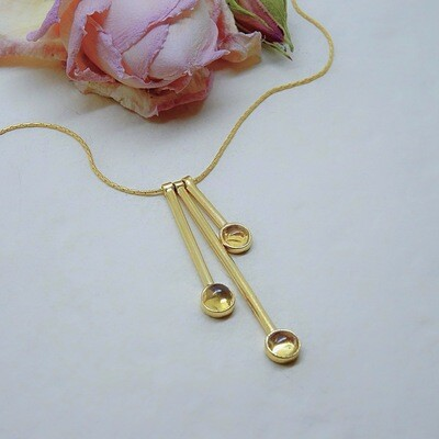 Gold plated silver pendant - Citrine stones