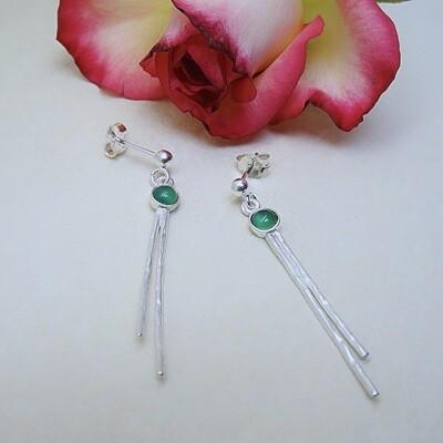 Silver earrings - Green Onyx stones