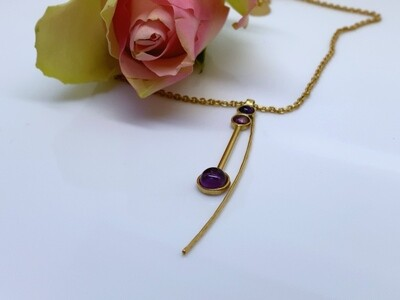 Gold-plated pendant - Amethyst stones