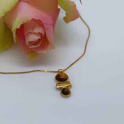 Gold-plated pendant - Tiger Eye stones