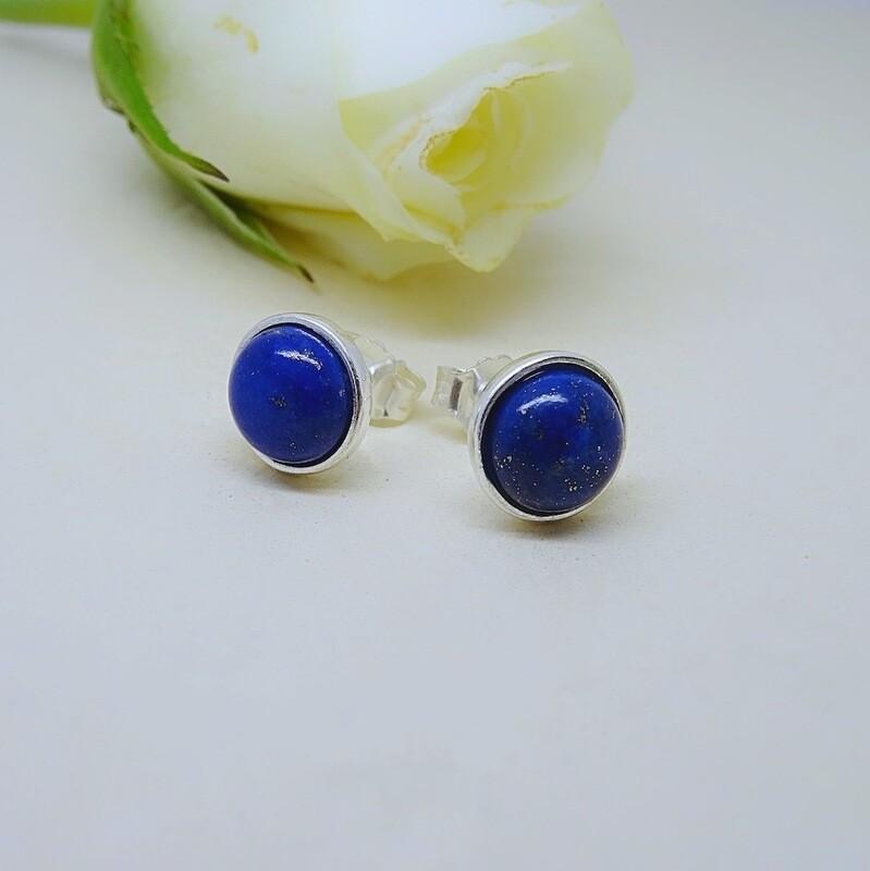 Silver ear drops - Lapis Lazuli stones