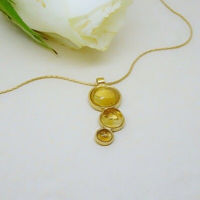 Gold plated pendant - Citrine stone