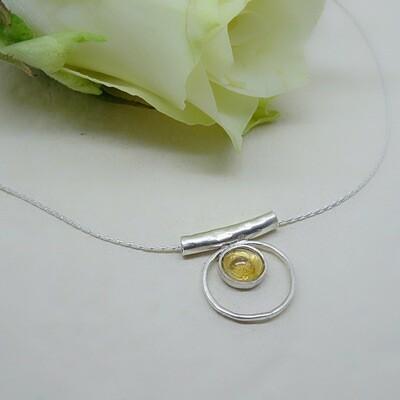 Silver pendant - Citrine stone