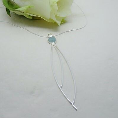 Silver pendant - Aquamarine stone