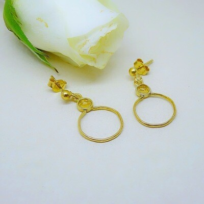 Gold plated silver earrings - Citrine stones