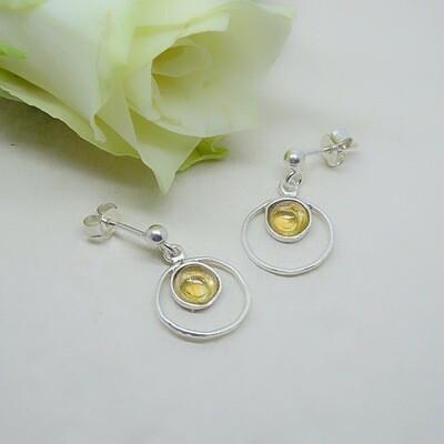 Silver earrings - citrine stones