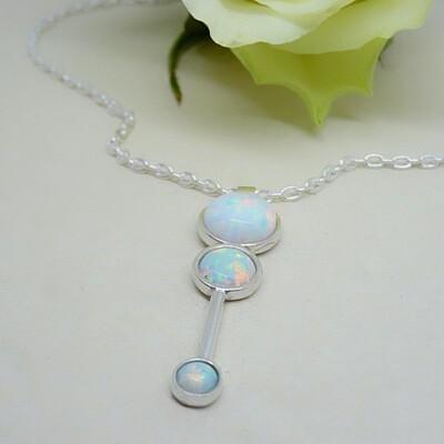 Shiny silver pendant - White Opal stone