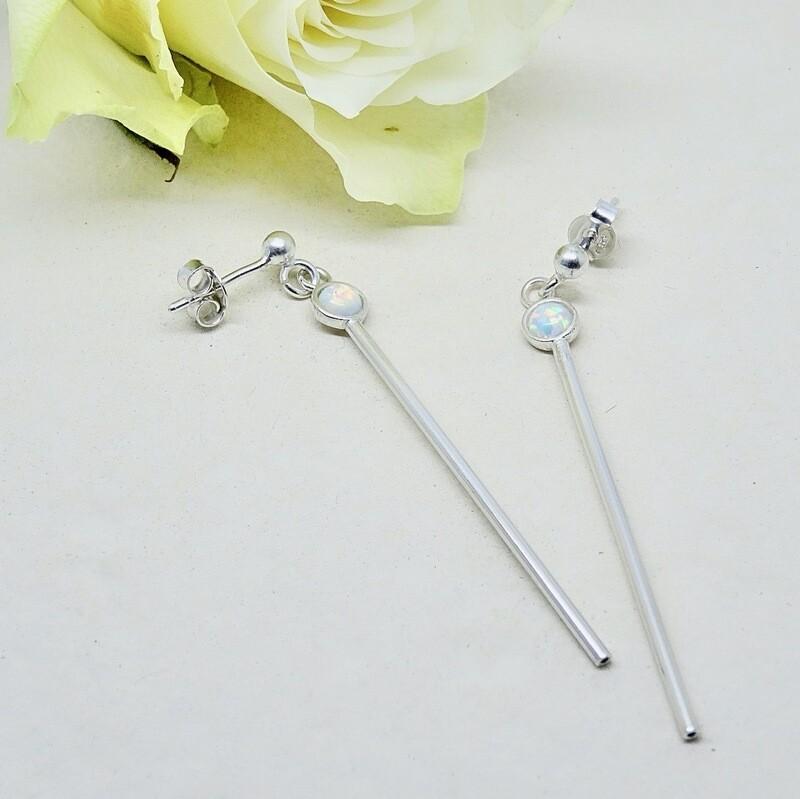 Silver earrings - White Opal stones