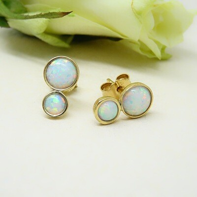 Gold plated silver earrings - White opal stones