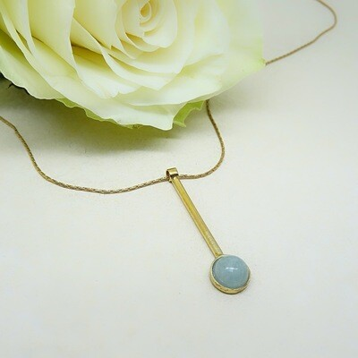 Gold plated silver pendant - Aquamarine stone