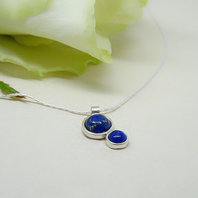 Shiny silver pendant - Lapis Lazuli stone