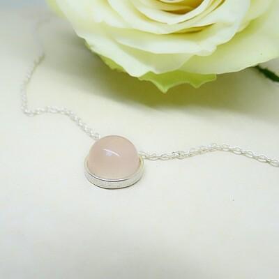 Shiny silver pendant - Pink Quartz stones