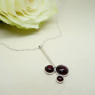 Silver pendant - Garnet stones