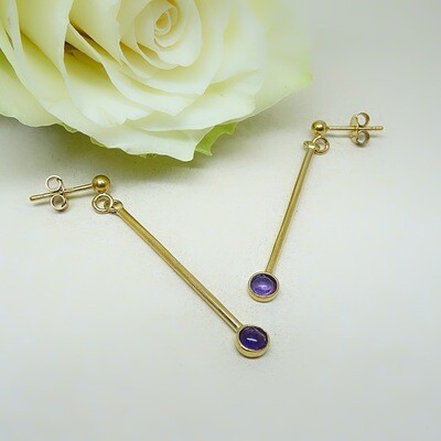 Gold-plated earrings - Amethyst stones