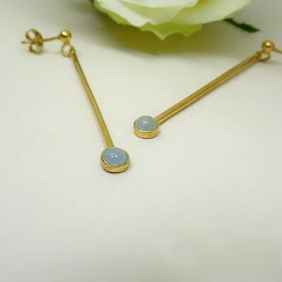 Gold-plated earrings - Aquamarine stones