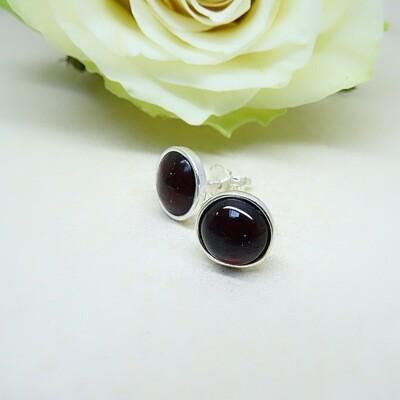 Silver ear studs - Garnet stones