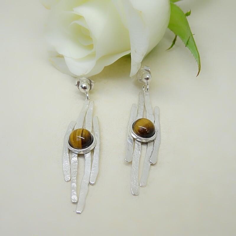 Silver earrings - Tiger Eye stones