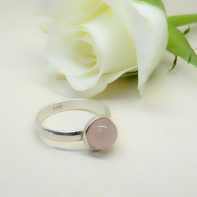 Silver stack of rings - Pink Quarts stones