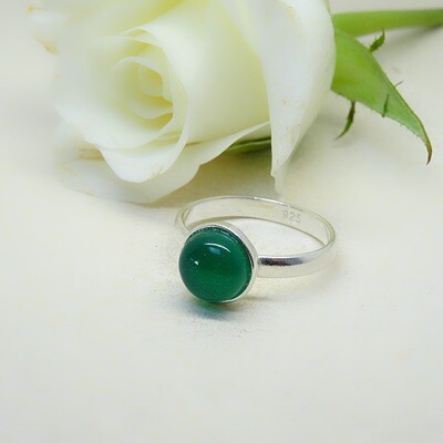 Silver stack of rings - Green Onyx stones