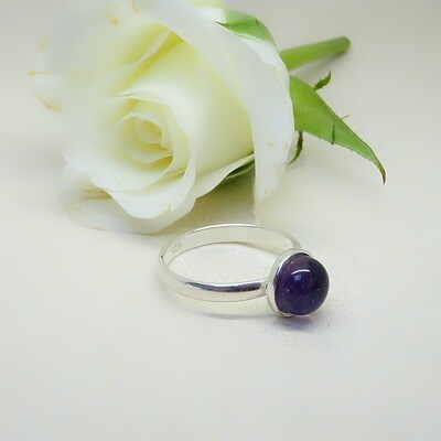 Silver stack of rings - Amethyst stones