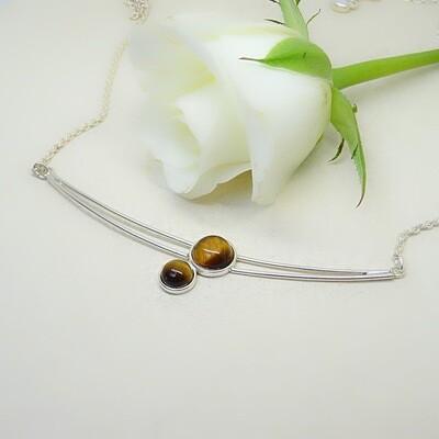 Shiny silver pendant - Tiger Eye stones