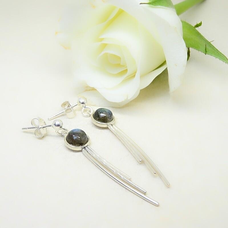 Silver earrings - Labradorite stones
