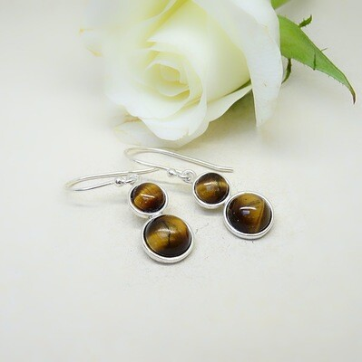 Silver earrings - Tigereye stones