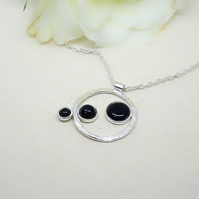 Shiny silver pendant - Black Onyx stones