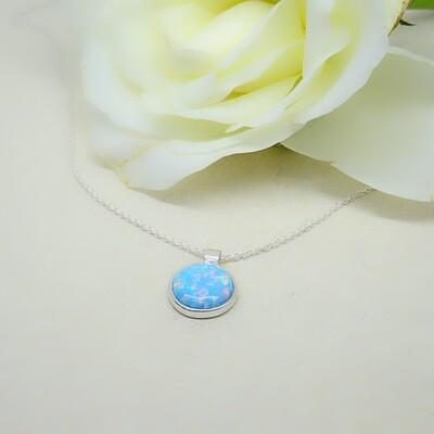 Silver earrings - Blue Opal stones
