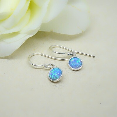 Silver earrings - Blue Opal stones