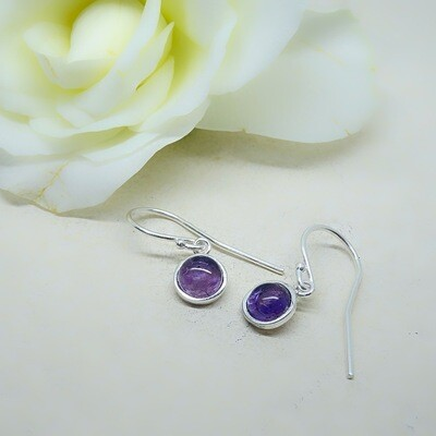 Silver earrings - Amethyst stones