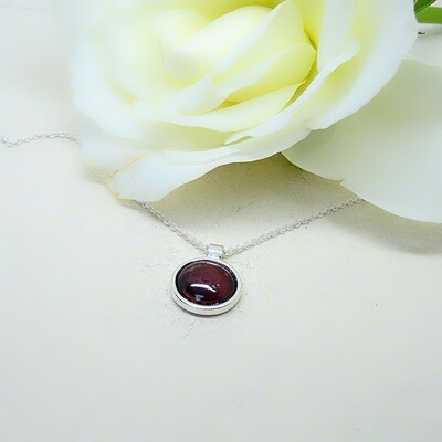 Silver earrings - Garnet stones