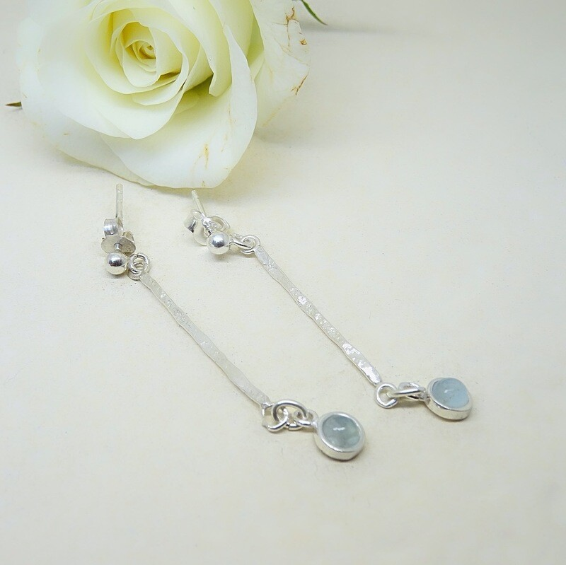 Silver earrings - Aquamarine stones
