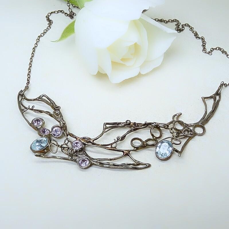 Silver Necklace - Swarovski stones