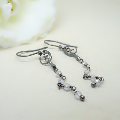 Silver Earrings - Cubic Zirconia stones
