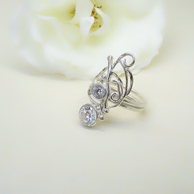 Silver ring - Crystal stones