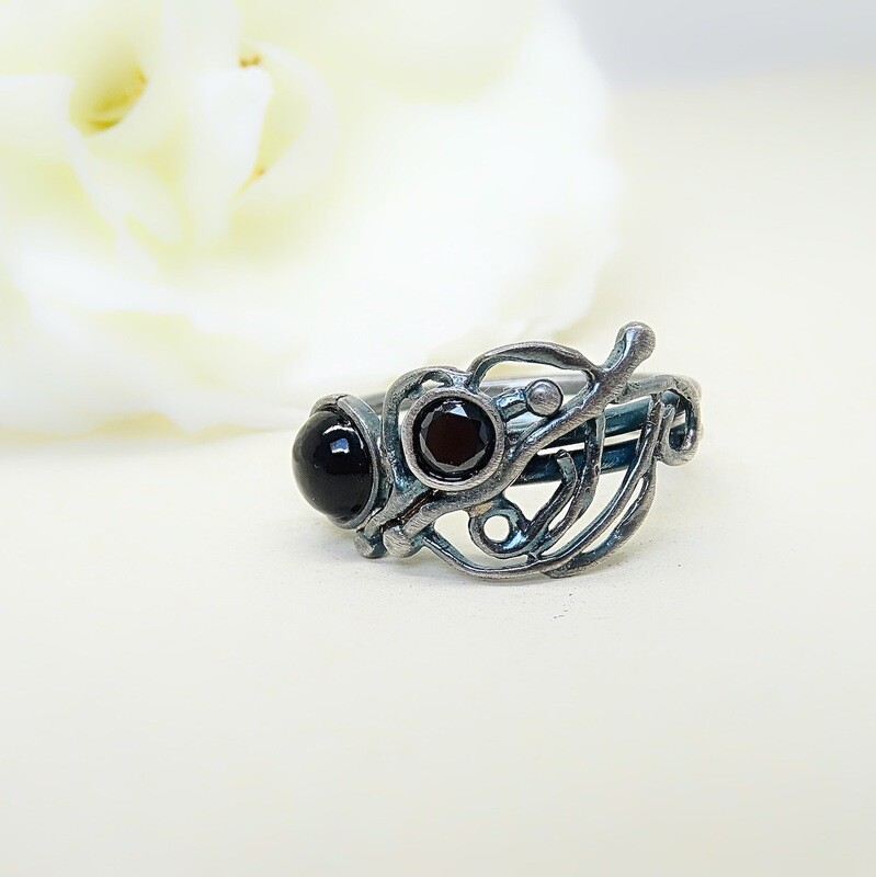 Silver ring - Black Onyx stones