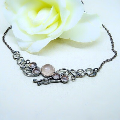 Fairytale silver necklace - Pink Quartz stones