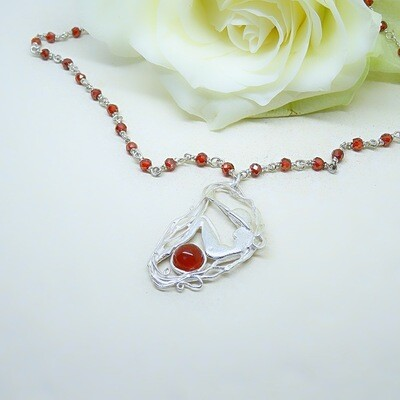 Silver Necklace - Carnelian stone