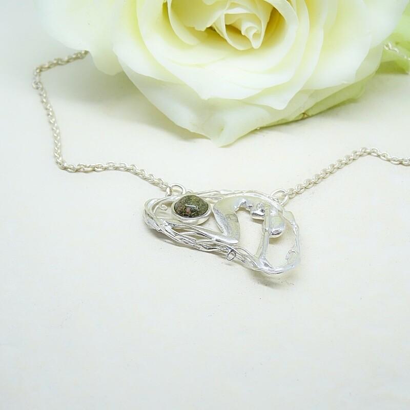 Silver Necklace - Unakite stone