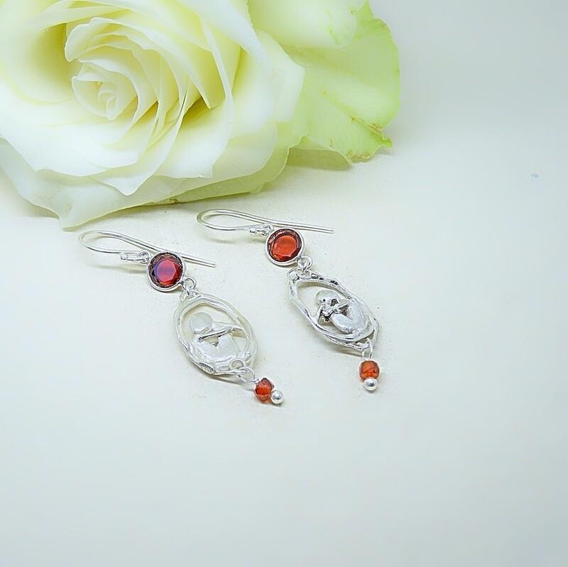 Silver Earrings - Carnelian stones