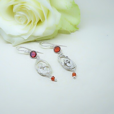 Silver Earrings - Carnelian stones