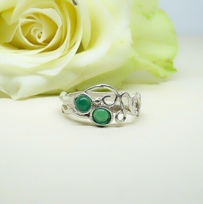 Silver ring - Green Onyx stones