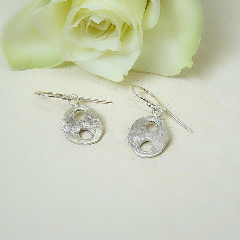 Silver earrings - hammered Silver