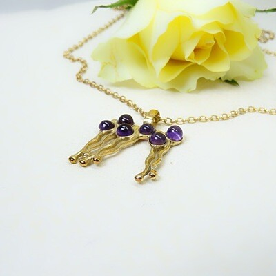 Gold plated silver pendant - Amethyst stones