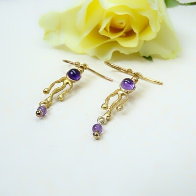 Silver gold-plated earrings - Amethyst stones