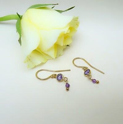 Silver gold-plated earrings - Amethyst zirconia stones