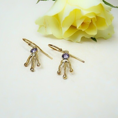Silver gold-plated earrings - Amethyst zirconia stones