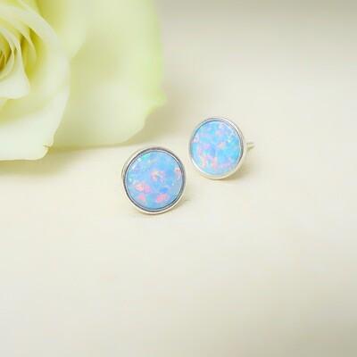 Silver ear studs - White opale stones