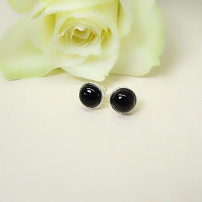 Silver ear studs - Black Onyx stones